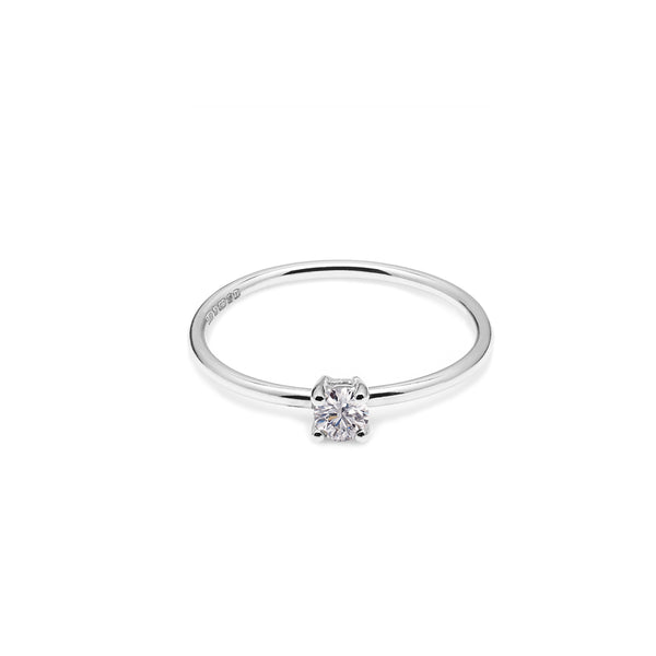 18k White Gold & Natural Diamond Solitaire Ring