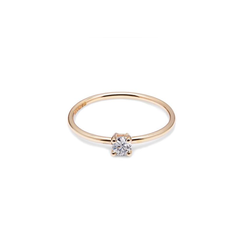 18k Yellow Gold & Natural Diamond Solitaire Ring