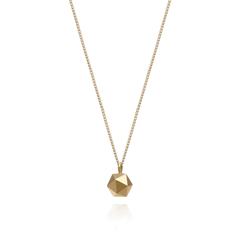 Mini Icosahedron Necklace - 9k Yellow Gold - Myia Bonner Jewellery