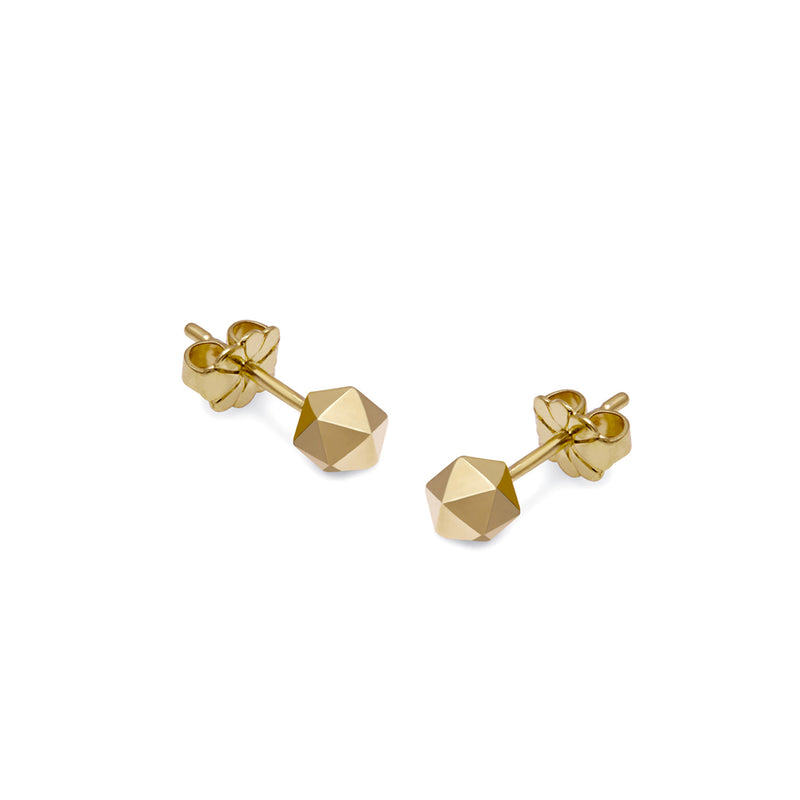 Icosahedron Stud Earrings - Gold - Myia Bonner Jewellery