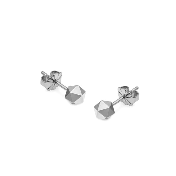 Icosahedron Stud Earrings - Silver - Myia Bonner Jewellery