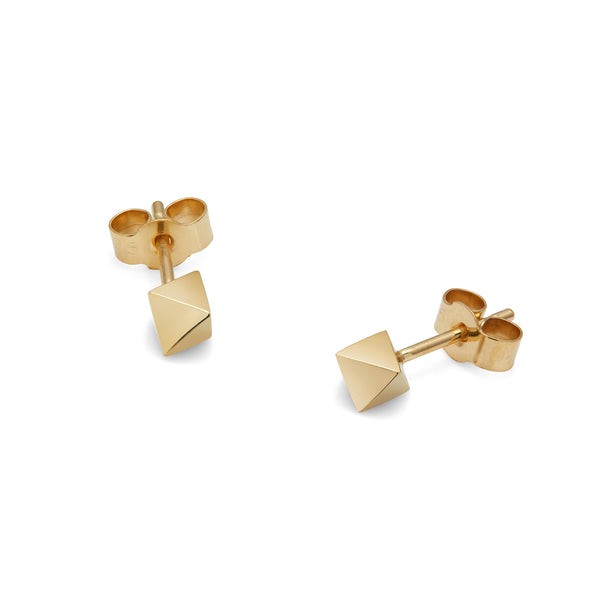 Octahedron Stud Earrings - Gold - Myia Bonner Jewellery