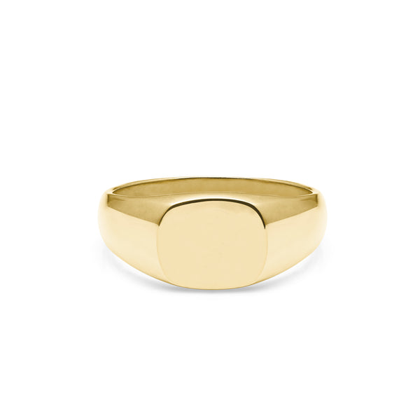Cushion Signet Ring - 9k Yellow Gold - Myia Bonner Jewellery