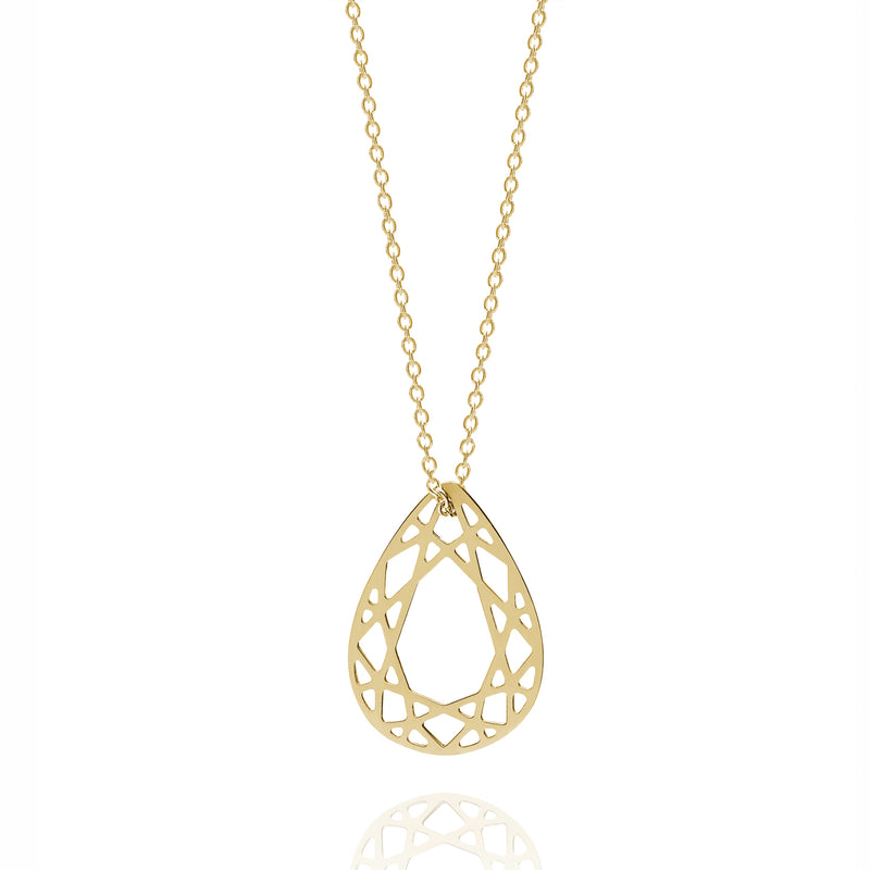 Small Pear Diamond Necklace - Gold - Myia Bonner Jewellery