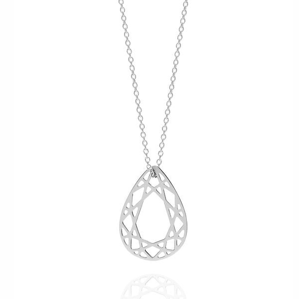 Small Pear Diamond Necklace - Silver - Myia Bonner Jewellery