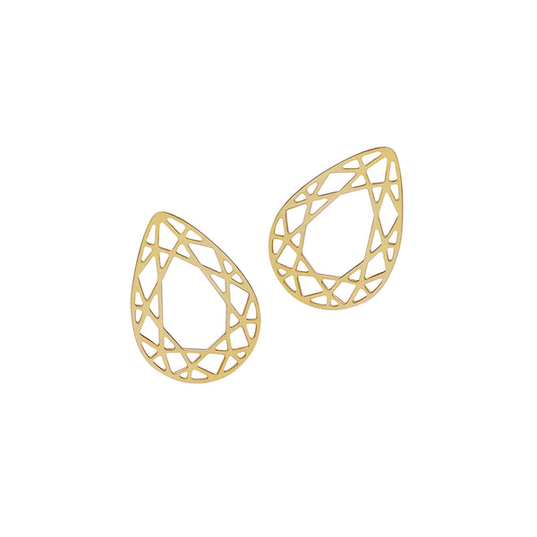 Pear Diamond Stud Earrings - Gold - Myia Bonner Jewellery