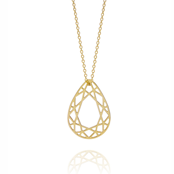 Medium Pear Diamond Necklace - Gold - Myia Bonner Jewellery