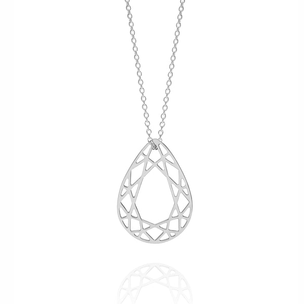 Medium Pear Diamond Necklace - Silver - Myia Bonner Jewellery