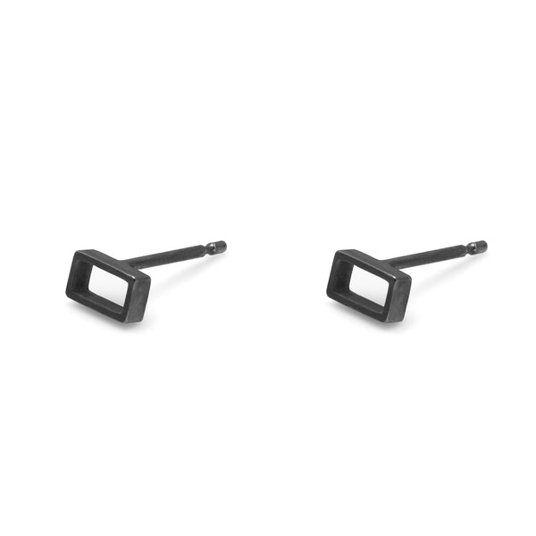 Horizontal Oblong Stud Earrings - Oxidised Silver - Myia Bonner Jewellery