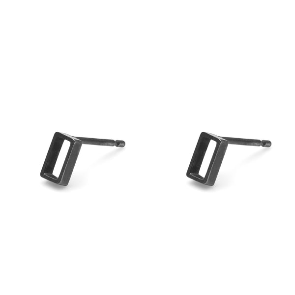Vertical Oblong Stud Earrings - Oxidised Silver - Myia Bonner Jewellery
