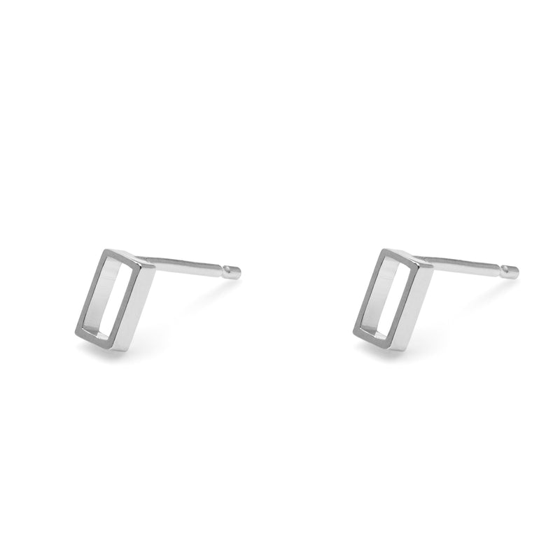 Horizontal Oblong Stud Earrings - Silver - Myia Bonner Jewellery