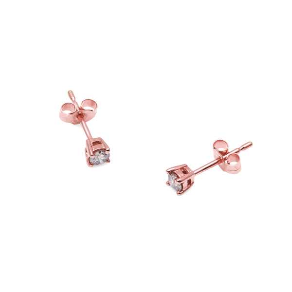 9k Rose Gold & Salt & Pepper Diamond Stud Earrings