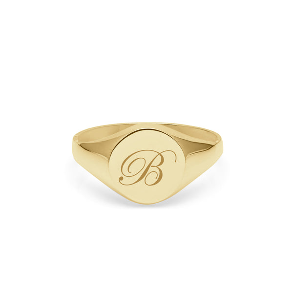 Initial B Edwardian Round Signet Ring - 9k Yellow Gold - Myia Bonner Jewellery