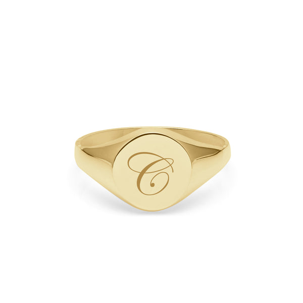 Initial C Edwardian Round Signet Ring - 9k Yellow Gold - Myia Bonner Jewellery