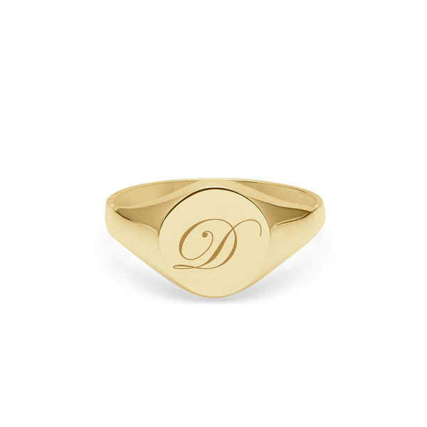 Initial D Edwardian Round Signet Ring - 9k Yellow Gold - Myia Bonner Jewellery