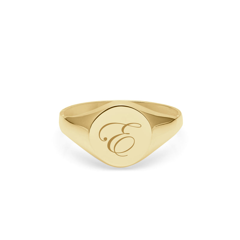 Initial E Edwardian Round Signet Ring - 9k Yellow Gold - Myia Bonner Jewellery