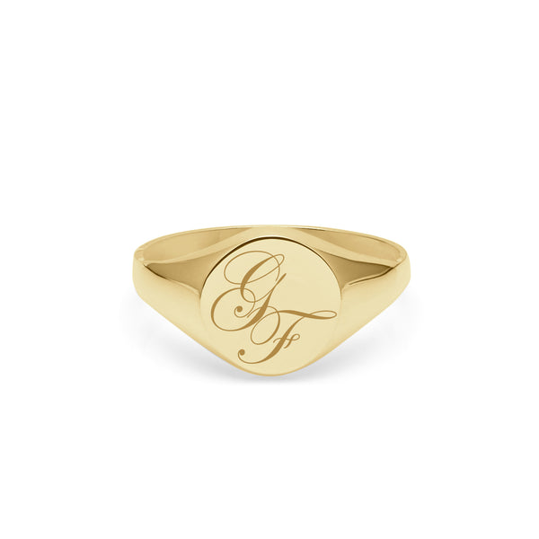 Double Initial Edwardian Signet Ring - 9k Yellow Gold - Myia Bonner Jewellery