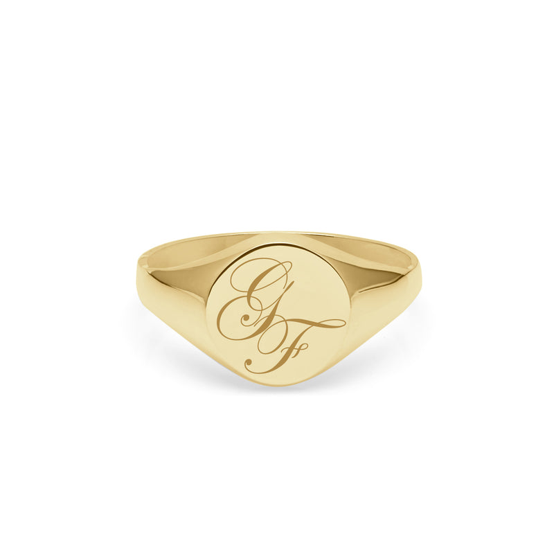 Double Initial Edwardian Round Signet Ring - 9k Yellow Gold - Myia Bonner Jewellery