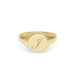 Initial J Edwardian Round Signet Ring - 9k Yellow Gold - Myia Bonner Jewellery