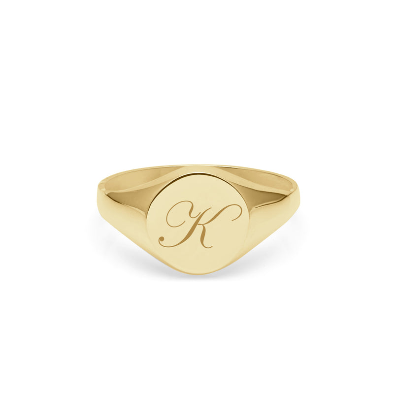 Initial K Edwardian Round Signet Ring - 9k Yellow Gold - Myia Bonner Jewellery