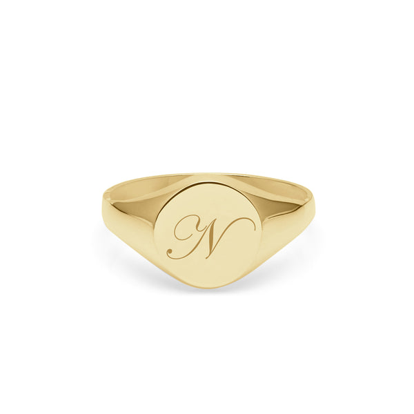 Initial N Edwardian Round Signet Ring - 9k Yellow Gold - Myia Bonner Jewellery