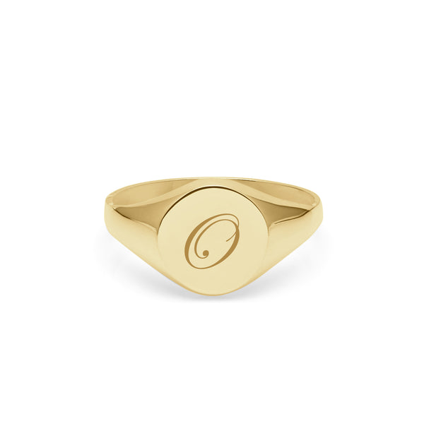Initial O Edwardian Round Signet Ring - 9k Yellow Gold - Myia Bonner Jewellery
