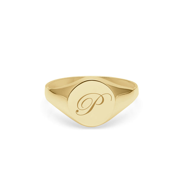 Initial P Edwardian Round Signet Ring - 9k Yellow Gold - Myia Bonner Jewellery