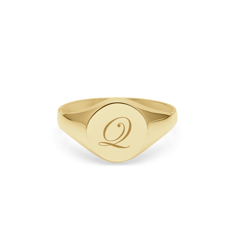 Initial Q Edwardian Round Signet Ring - 9k Yellow Gold - Myia Bonner Jewellery