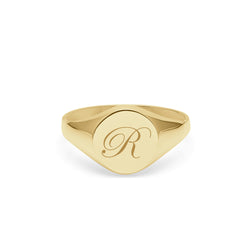Initial R Edwardian Round Signet Ring - 9k Yellow Gold - Myia Bonner Jewellery
