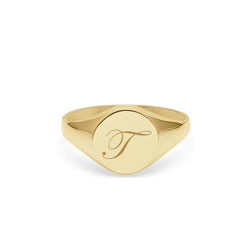 Initial T Edwardian Round Signet Ring - 9k Yellow Gold - Myia Bonner Jewellery