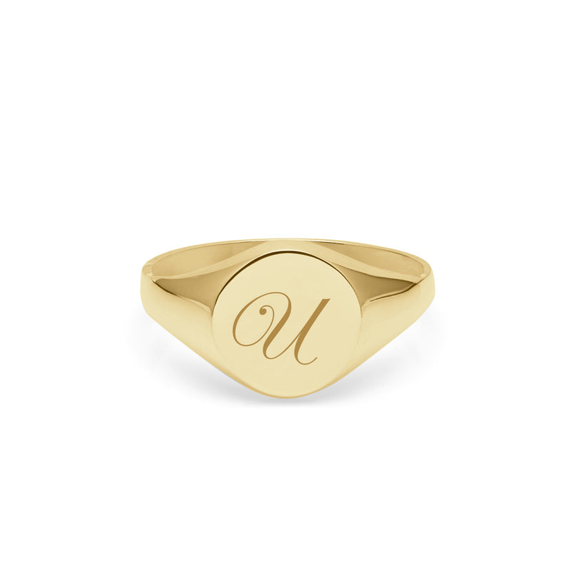 Initial U Edwardian Round Signet Ring - 9k Yellow Gold - Myia Bonner Jewellery