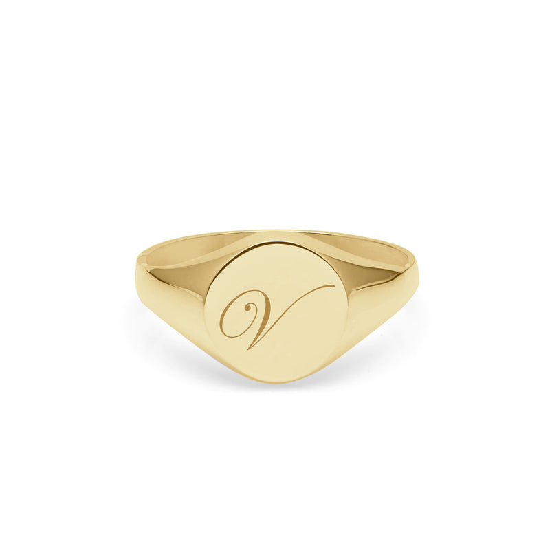 Initial V Edwardian Round Signet Ring - 9k Yellow Gold - Myia Bonner Jewellery