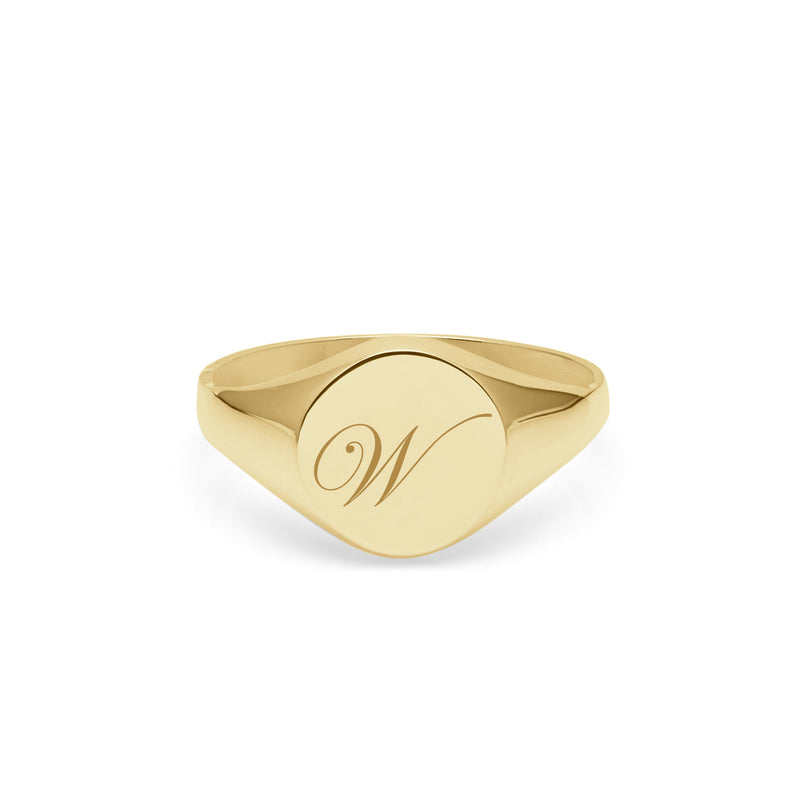 Initial W Edwardian Round Signet Ring - 9k Yellow Gold - Myia Bonner Jewellery