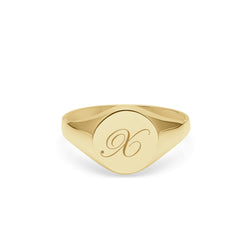 Initial X Edwardian Round Signet Ring - 9k Yellow Gold - Myia Bonner Jewellery