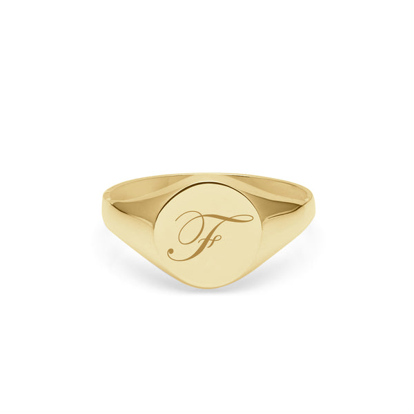Initial F Edwardian Round Signet Ring - 9k Yellow Gold - Myia Bonner Jewellery