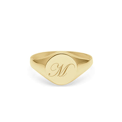 Initial M Edwardian Round Signet Ring - 9k Yellow Gold - Myia Bonner Jewellery