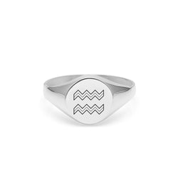 Aquarius Signet Ring - Silver - Myia Bonner Jewellery