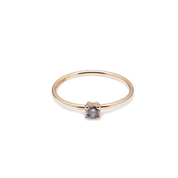18k Yellow Gold & Salt & Pepper Diamond Solitaire Ring - Myia Bonner Jewellery