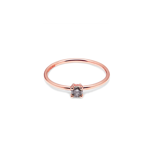 9k Rose Gold & Salt & Pepper Diamond Solitaire Ring - Myia Bonner Jewellery