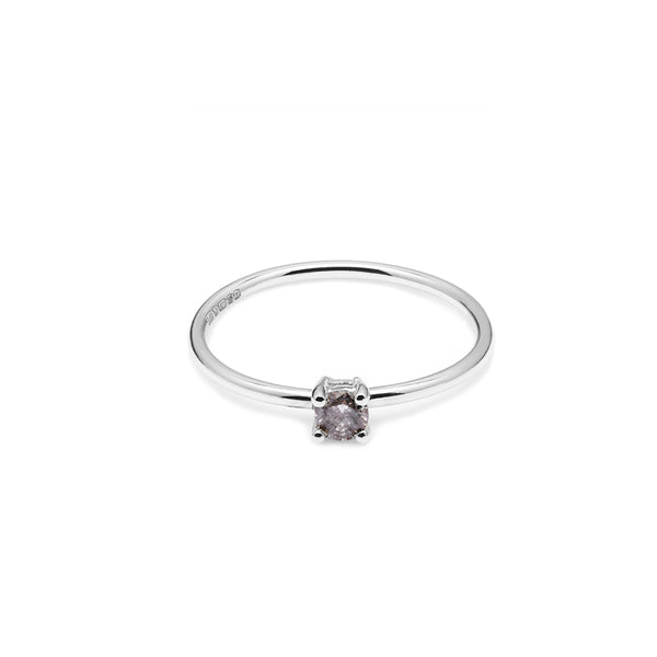 9k White Gold & Salt & Pepper Diamond Solitaire Ring - Myia Bonner Jewellery