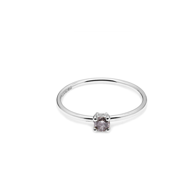 18k White Gold & Salt & Pepper Diamond Solitaire Ring - Myia Bonner Jewellery