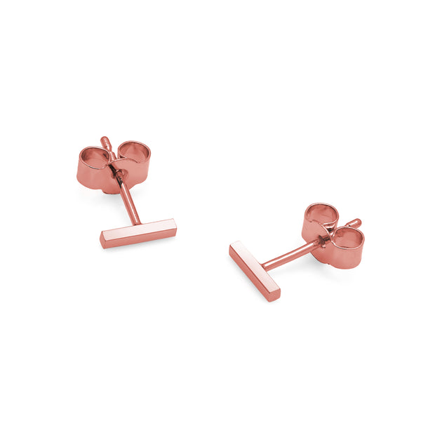 Mini Bar Stud Earrings - 9k Rose Gold - Myia Bonner Jewellery