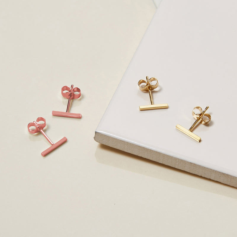 Bar Stud Earrings - 9k Rose Gold - Myia Bonner Jewellery