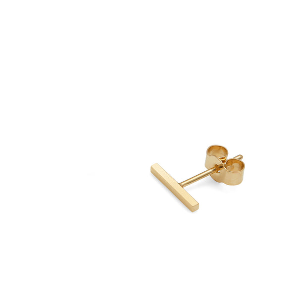 Single Bar Stud Earring - 9k Yellow Gold