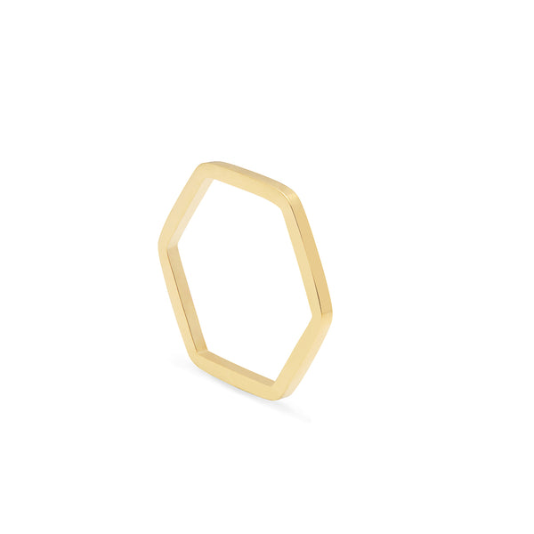 Hexagon Ring - 9k Yellow Gold