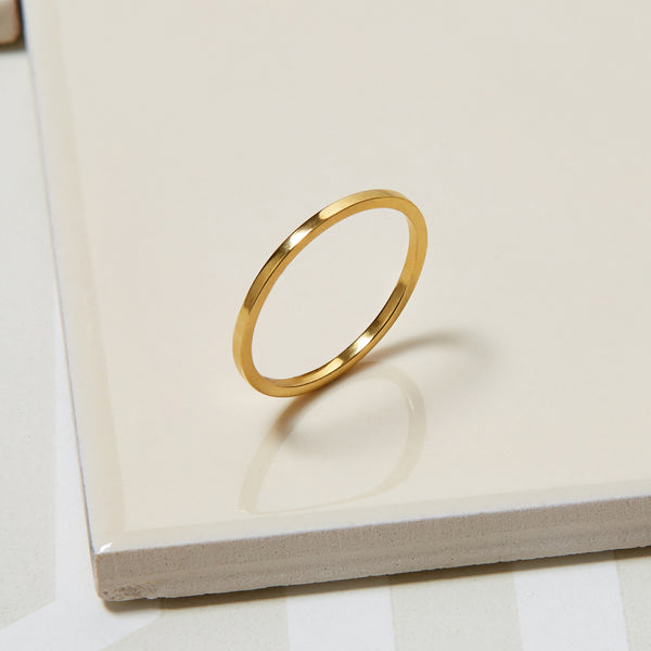 Skinny Square Stacking Ring - Gold - Myia Bonner Jewellery