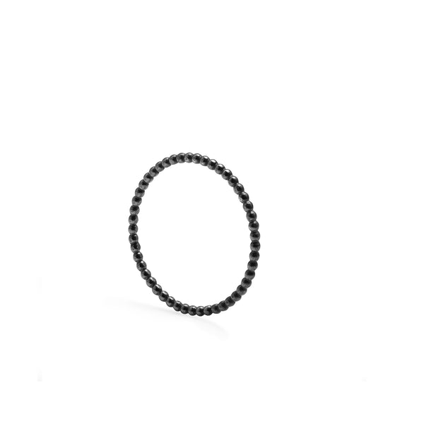 Skinny Ball Stacking Ring - Oxidised Silver - Myia Bonner Jewellery