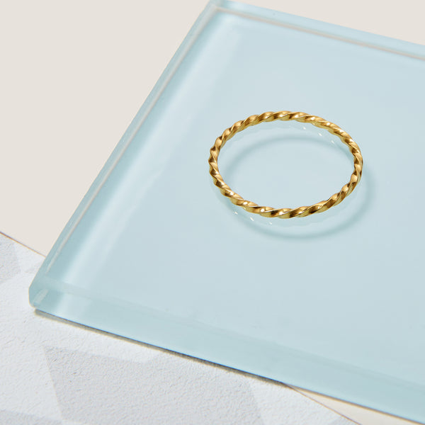 Skinny Twist Ring - 9k Yellow Gold - Myia Bonner Jewellery