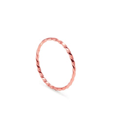 Skinny Twist Ring - 9k Rose Gold - Myia Bonner Jewellery