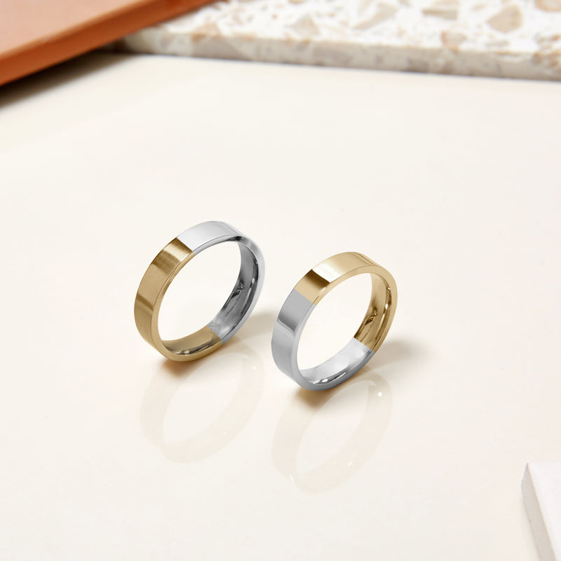 Two-tone 4mm Flat Comfort Fit Band - 9k Yellow & White Gold